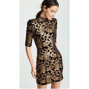 Alice + Olivia Dresses - Alice + Olivia Inka Strong Shoulder Sequin Dress